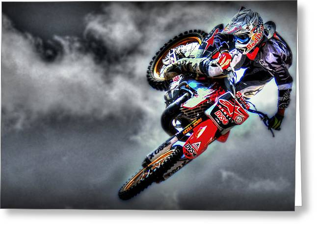 Supercross Greeting Cards - Flying Greeting Card by Craig Incardone