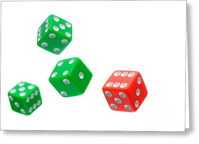 Wager Greeting Cards - Flying Craps Dice  Greeting Card by Olivier Le Queinec