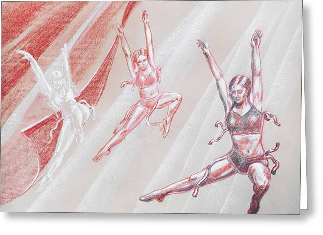 Ballet Dancers Drawings Greeting Cards - Flying Dancers  Greeting Card by Irina Sztukowski