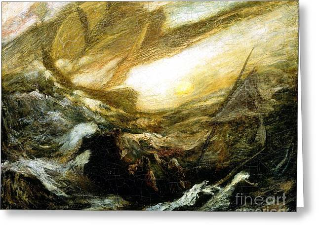 Storm Prints Paintings Greeting Cards - Flying Dutchman Greeting Card by Pg Reproductions