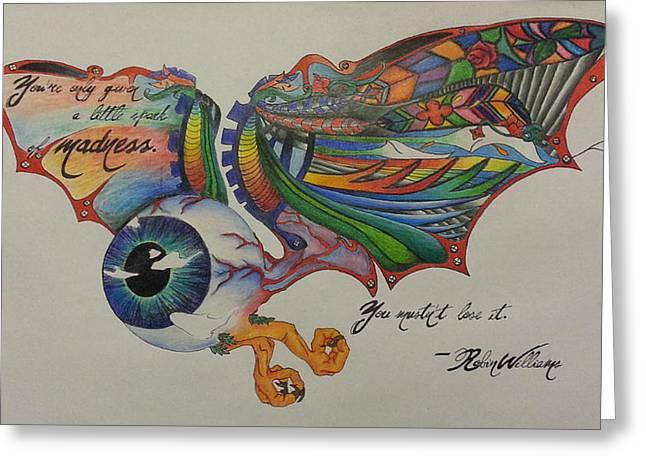 Veins Drawings Greeting Cards - Flying Eyeball Greeting Card by Melissa Sink