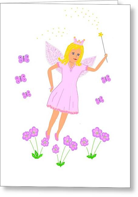 Flower Pink Fairy Child Greeting Cards - Flying Fairy Princess Greeting Card by Janet Davies