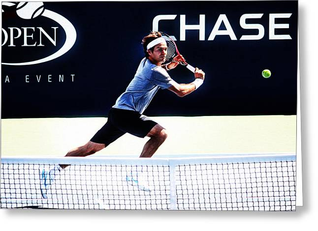 Roger Federer Digital Art Greeting Cards - Flying Federer  Greeting Card by Nishanth Gopinathan
