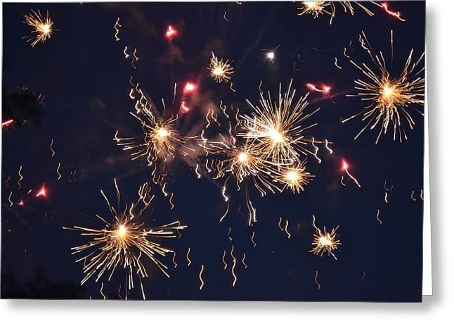Night Sky Greeting Cards - Flying Fireworks 2 Greeting Card by Kim Stafford