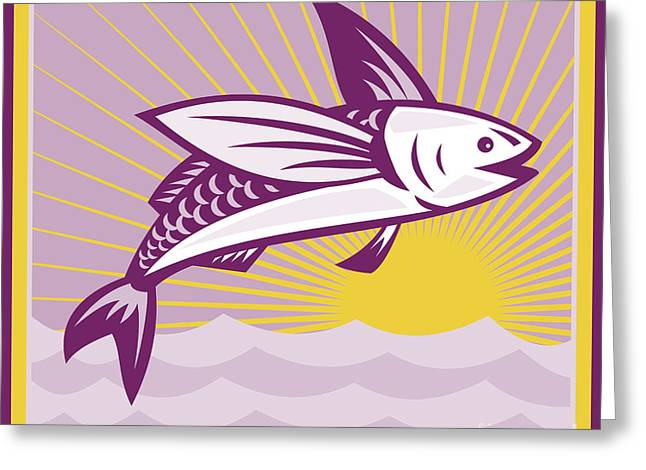 Flying Fish Greeting Cards - Flying Fish At Sea Oceam Square Retro Greeting Card by Aloysius Patrimonio