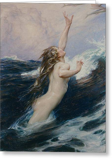 Recently Sold -  - Female Body Greeting Cards - Flying Fish Greeting Card by Herbert James Draper