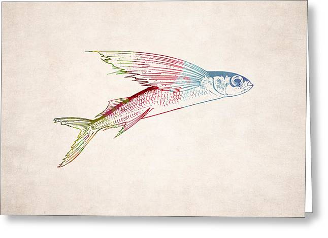 Creature Design Greeting Cards - Flying Fish Illustration Greeting Card by World Art Prints And Designs