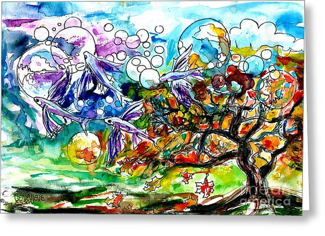 Healing Greeting Cards Greeting Cards - Flying Fish Tree and Bubbles Greeting Card by Genevieve Esson