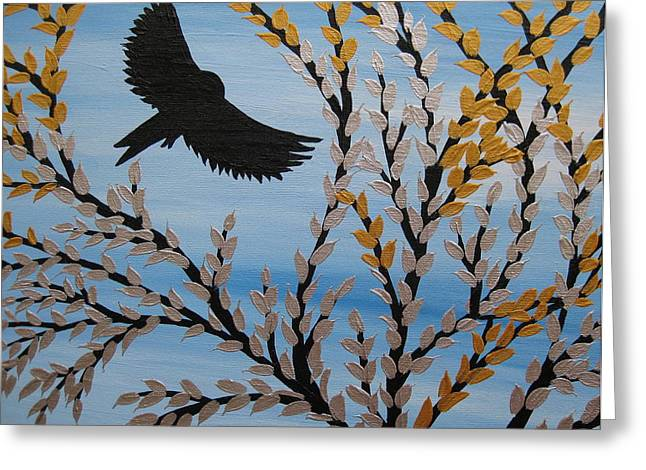 Canvas Framing Paintings Greeting Cards - Flying Freely Greeting Card by Cathy Jacobs