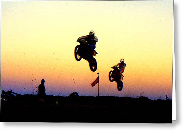 Supercross Greeting Cards - Flying Frenchmen Greeting Card by Guy Pettingell