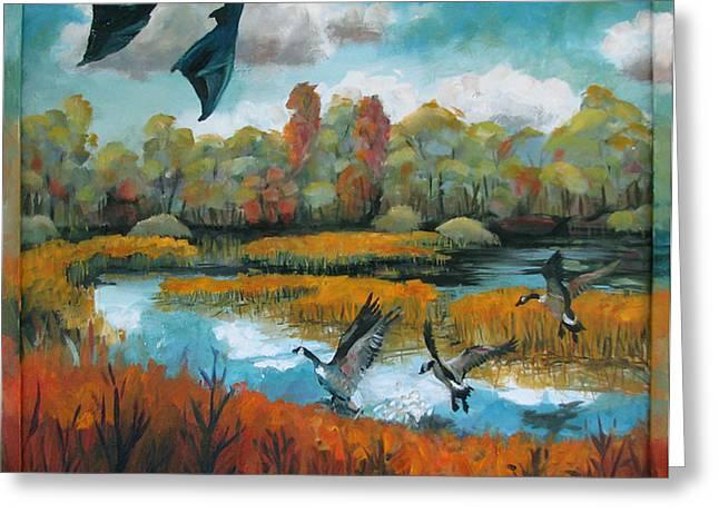 Flying Geese Feet Greeting Card by Art Nomad Sandra  Hansen