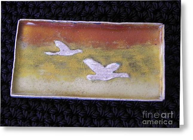 Bird Jewelry Greeting Cards - Flying Geese Greeting Card by Patricia  Tierney