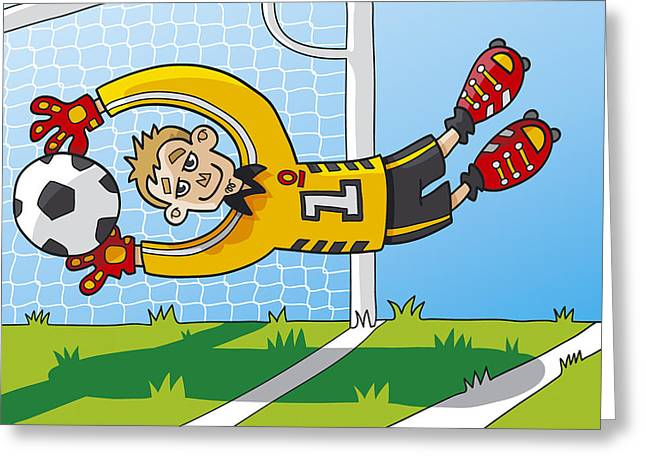 Sport Greeting Cards - Flying Goalkeeper Catching Ball Greeting Card by Frank Ramspott