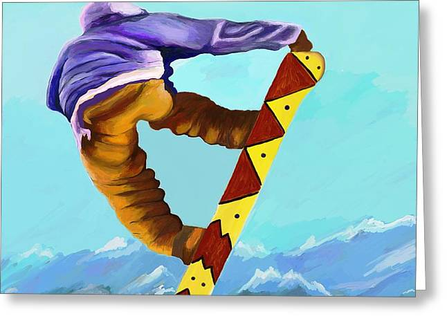 Winter Travel Digital Greeting Cards - Flying High Greeting Card by Jeanne Fischer