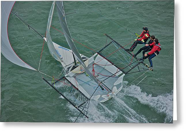 Catamaran Greeting Cards - Flying High Greeting Card by Steven Lapkin
