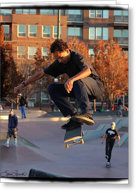 Skateboarding Digital Greeting Cards - Flying High Greeting Card by Sylvia Thornton