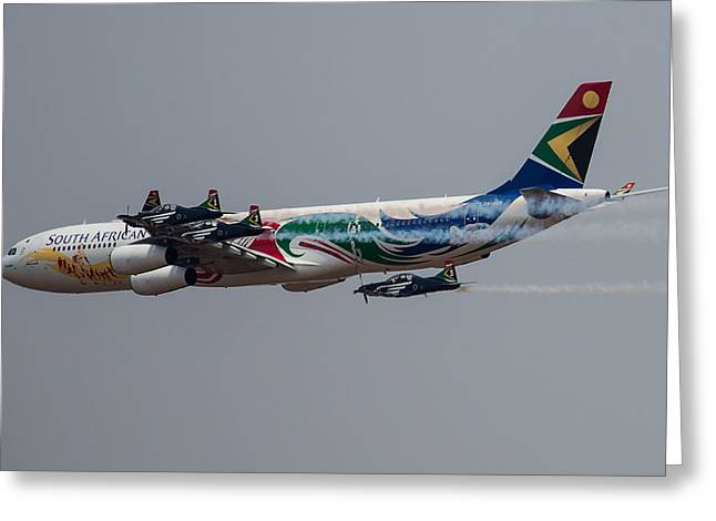 Airbus Greeting Cards - Flying in formation Greeting Card by Paul Job