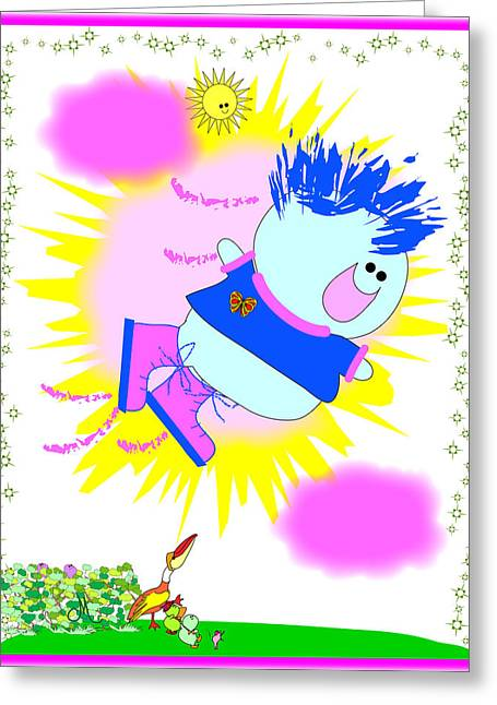 Huckleberry Digital Art Greeting Cards - Flying in My Magic Shoes Greeting Card by Chris Morningforest