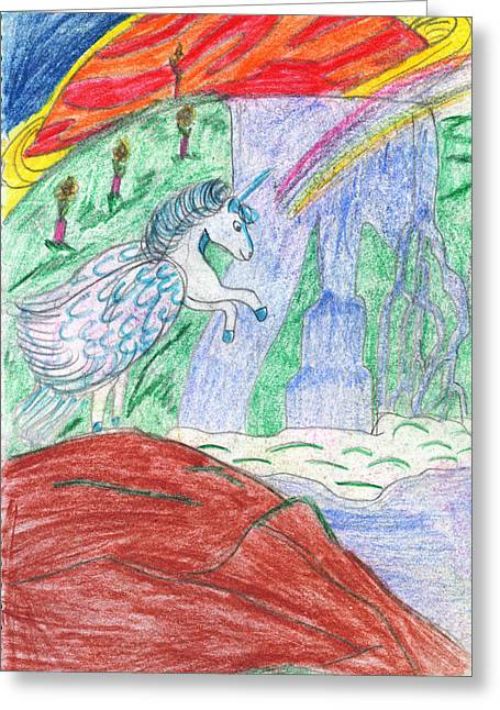 Dolphin Drawings Greeting Cards - Planet Pegasus Greeting Card by Kd Neeley