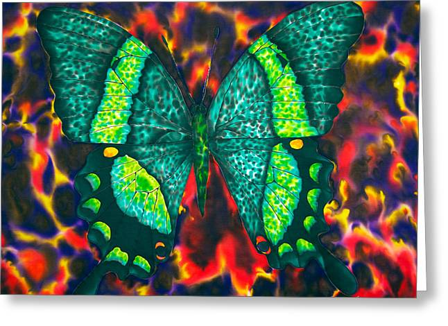 Butterfly Tapestries - Textiles Greeting Cards - Flying into Hades Greeting Card by Daniel Jean-Baptiste