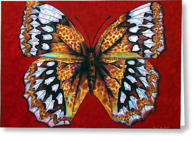 Tropical Flower Greeting Cards - Butterfly in Red Greeting Card by Daniel Jean-Baptiste