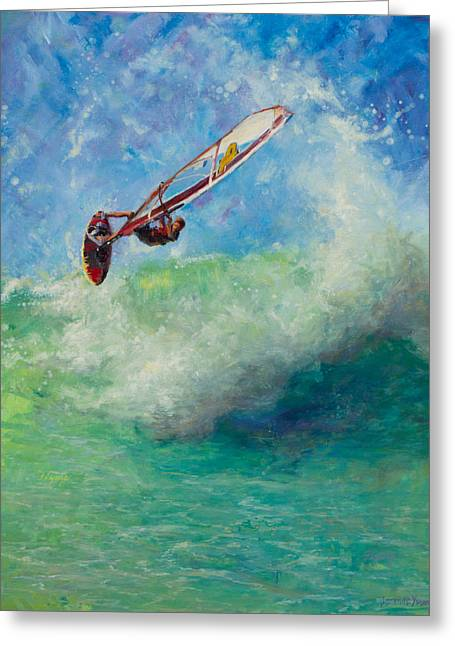 Wind Surfer Greeting Cards - Flying Greeting Card by Jeanne Young