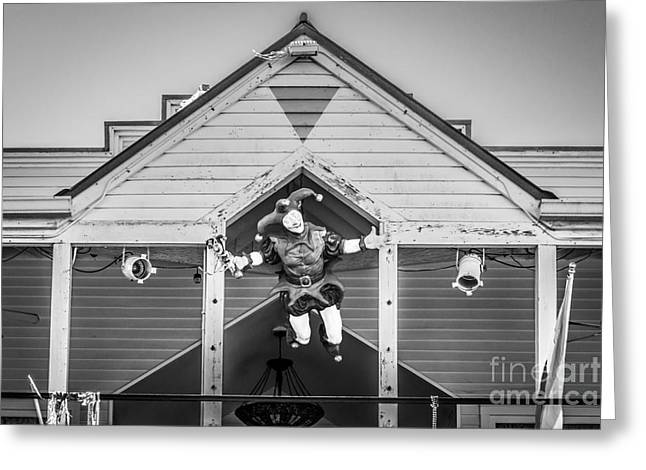 Liberal Greeting Cards - Flying Jester 2  Duval Street Key West - Black and White Greeting Card by Ian Monk