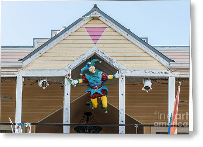 Liberal Greeting Cards - Flying Jester 2  Duval Street Key West Greeting Card by Ian Monk