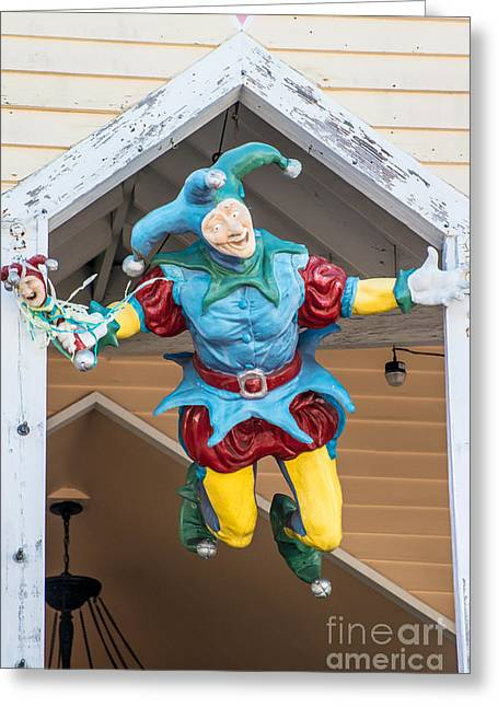 Liberal Greeting Cards - Flying Jester Duval Street Key West Greeting Card by Ian Monk