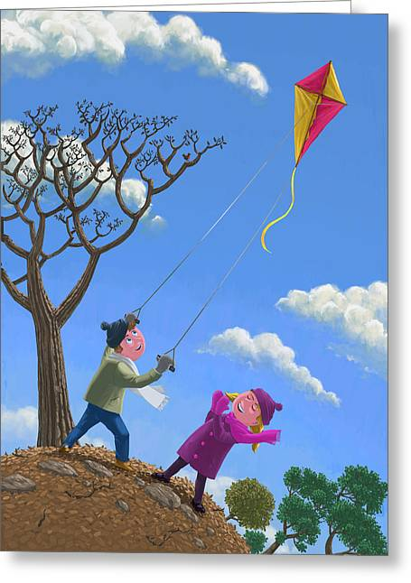 Flying Kite On Windy Day Greeting Card by Martin Davey