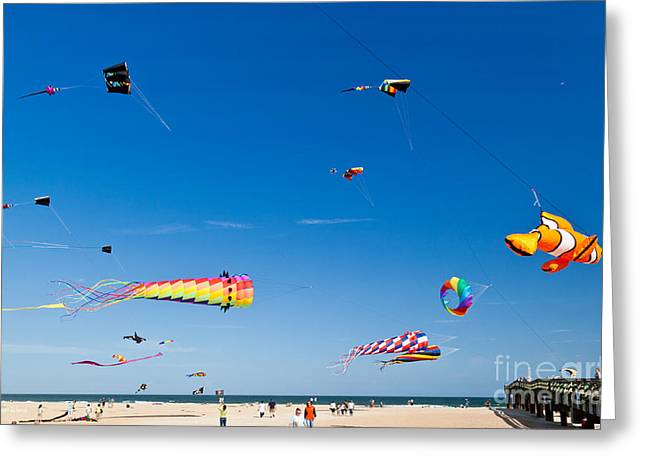 Michelle Greeting Cards - Flying Kites at St Augustine Beach Pier Greeting Card by Michelle Wiarda