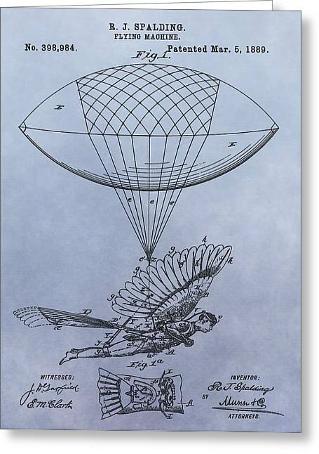 Helium Greeting Cards - Flying Machine Patent Greeting Card by Dan Sproul
