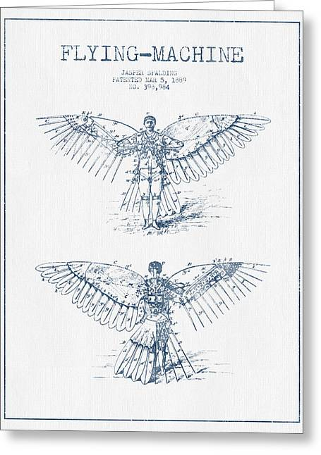 Right Wing Greeting Cards - Flying machine Patent Drawing from 1889- Blue Ink Greeting Card by Aged Pixel
