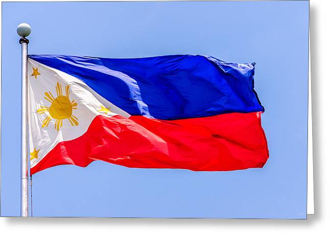 Asien Greeting Cards - Flying National Flag Of The Philippines Over Rizal Park Manila Greeting Card by Colin Utz