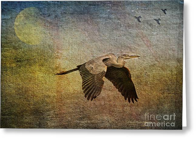 Beauty In Nature Mixed Media Greeting Cards - Flying Near The Moon Greeting Card by Deborah Benoit