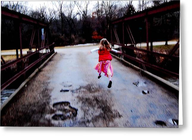 Jon Van Gilder Greeting Cards - Flying On The Bridge Greeting Card by Jon Van Gilder