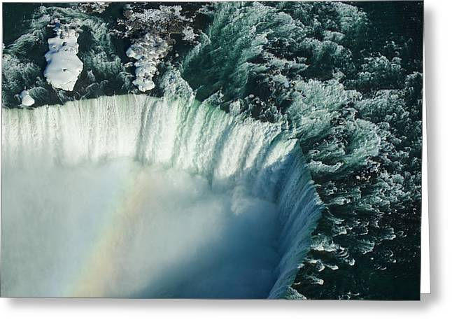 Abstract Waves Greeting Cards - Flying Over Icy Niagara Falls Greeting Card by Georgia Mizuleva