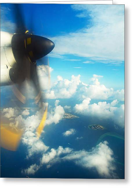 Transfer Greeting Cards - Flying over Maldivian Archipelago Greeting Card by Jenny Rainbow