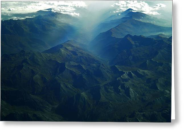 Nature Greeting Cards - Flying over the Alps  in Europe Greeting Card by Colette V Hera  Guggenheim