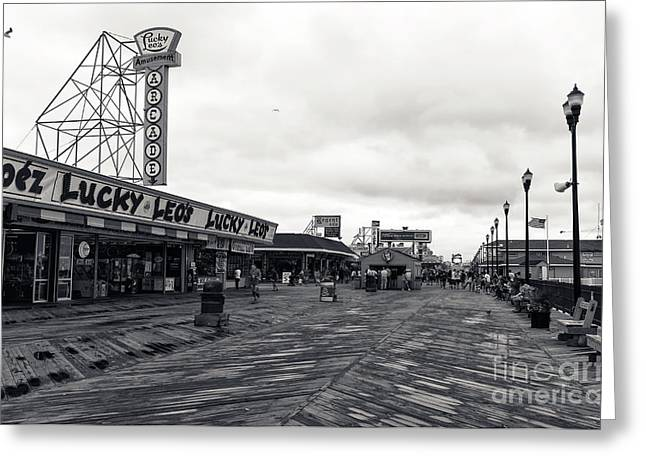 Flying Over The Boardwalk Mono Greeting Card by John Rizzuto