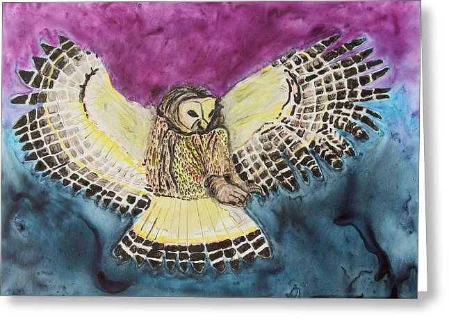 Concentration Pastels Greeting Cards - Flying Owl Greeting Card by Jeanne Fischer