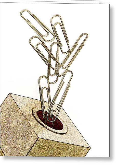 Clip Greeting Cards - Flying Paperclips Greeting Card by Carol Leigh