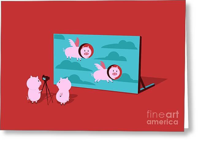 Flying pig Greeting Card by Budi Satria Kwan