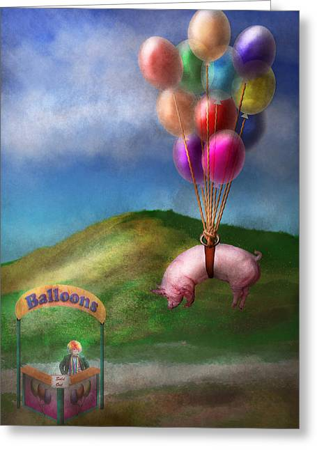 Flying Pig - Child - How I Wish I Were A Bird Greeting Card by Mike Savad