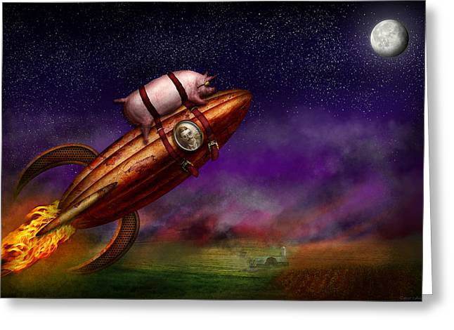 Rocket Greeting Cards - Flying Pig - Rocket - To the moon or bust Greeting Card by Mike Savad