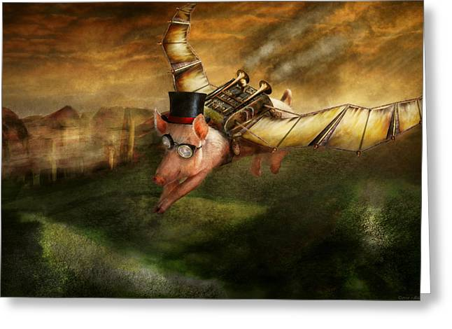 Flying Pig Greeting Cards - Flying Pig - Steampunk - The flying swine Greeting Card by Mike Savad