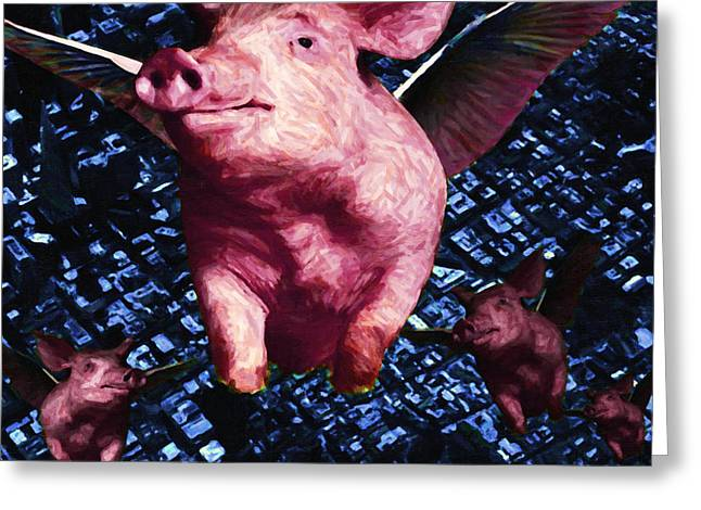 Piglets Greeting Cards - Flying Pigs Over San Francisco - square Greeting Card by Wingsdomain Art and Photography