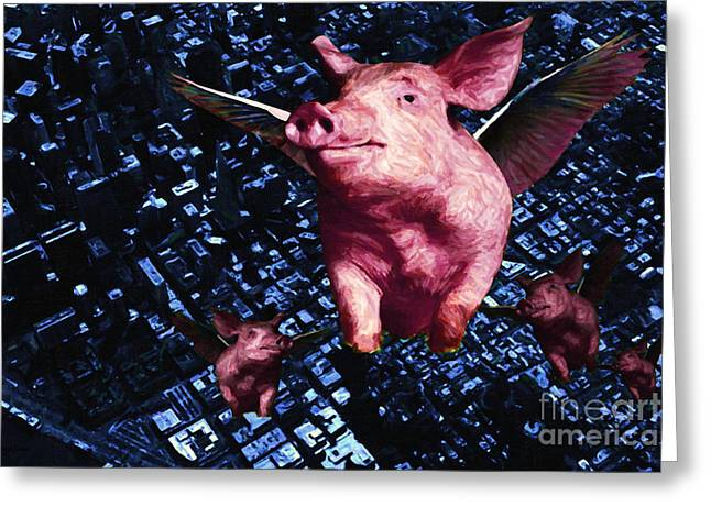 Piglets Digital Greeting Cards - Flying Pigs Over San Francisco Greeting Card by Wingsdomain Art and Photography