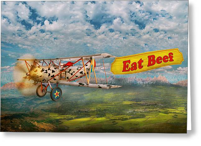 Self View Greeting Cards - Flying Pigs - Plane - Eat Beef Greeting Card by Mike Savad