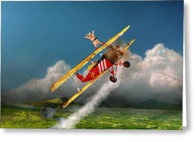 Mustache Greeting Cards - Flying Pigs - Plane - Hog Wild Greeting Card by Mike Savad